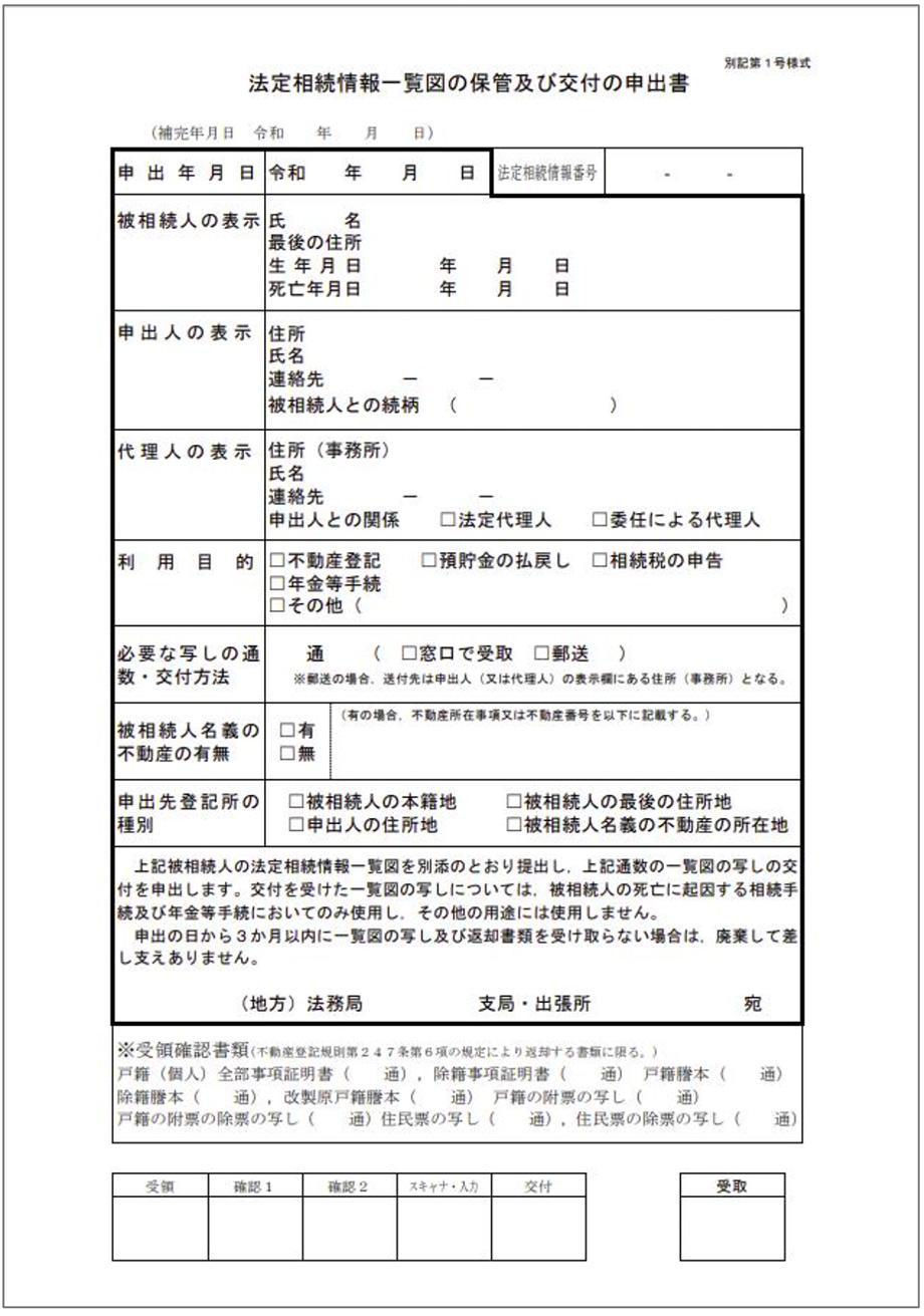 法定相続情報一覧図の保管及び交付の申出書