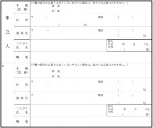 検認申立書式例 「申立人の連絡先情報、遺言者の情報」欄